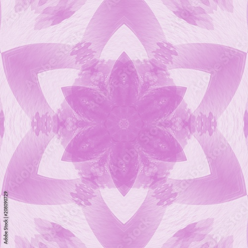 Creative pink mandala. Kaleidoscope abstract wallpaper. Sacred geometry digital painting art. Ethnic fractal artwork. Symmetric stylish graphic design pattern. Print for fabric, textile or paper. - 208090729