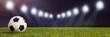 Leinwanddruck Bild - Fußball in Stadion oder Arena mit Beleuchtung