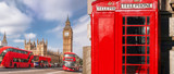 London symbols with BIG BEN, DOUBLE DECKER BUS and Red Phone Booths in England, UK - 208094167