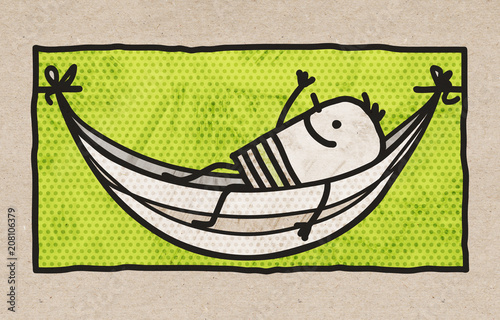 Cartoon Relax Man Resting in a Hammock - 208106379