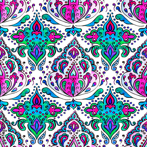 Hand drawn watercolor seamless pattern with paisley ornament - 208110743