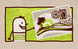 Cartoon Man with big Exotic Postcard