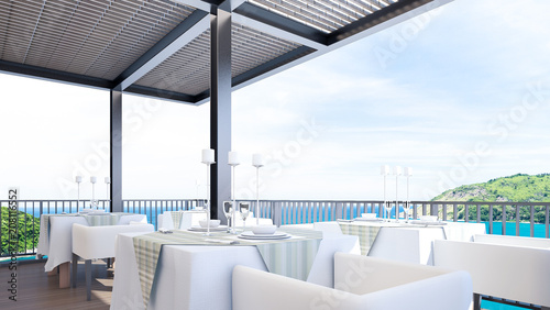 Romantic restaurant with sea view , 3d rendering - 208116552