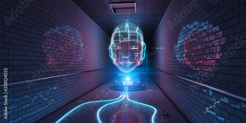 Cyborg hologram watching a subway interior 3D rendering © sdecoret