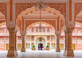 Jaipur city palace in Jaipur city, Rajasthan, India. An UNESCO world heritage know as beautiful pink color architectural elements. A famous destination in India. - 208124793