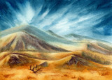 Watercolor Landscape with Mountains and Sky - 208126124