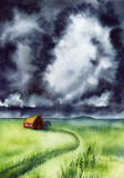 Watercolor Landscape with Stormy Sky - 208126126