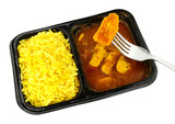 Chicken curry and rice microwave convenience meal isolated on a white background - 208127749