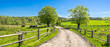 Leinwanddruck Bild - Countryside landscape, farm field and grass with grazing cows on pasture in rural scenery with country road, panoramic view