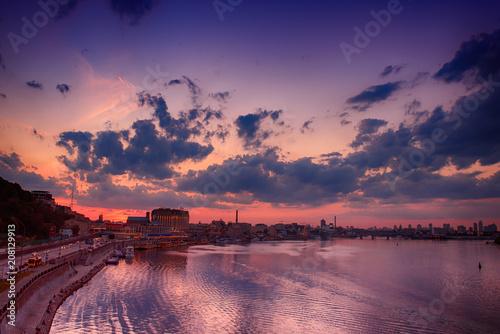 Aluminium Kiev Dramatic colorful sunset over Dnipro river in Kiev, Ukraine, travel background