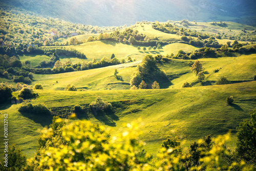Fotobehang Geel Spring hills under sunset light