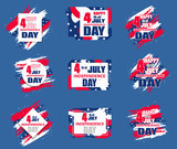 Set colorful modern background for Independence Day USA 4th July. Dynamic design elements for a flyer, sale, brochures, presentations, party etc. Vector