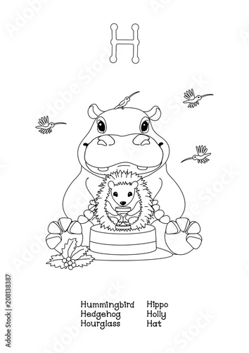 42fa2c53f93 vector outline animals English alphabet for letter H
