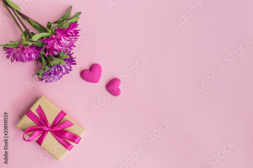 Pink flowers and red hearts gift box buy photos ap images pink flowers and red hearts gift box mightylinksfo