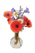 Leinwanddruck Bild - Bouquet of beautiful flowers Chamomiles wheat and poppies isolated without shadow