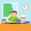 Cartoon father cooking with children in kitchen, family together, vector illustration. - 208144585