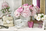 bunch of peony in shabby chic style interior - 208146965