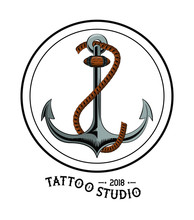 Old School Tattoo Marine Anchor Drawing Design  Illustration Graphic Sticker