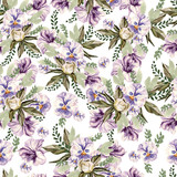 Beautiful watercolor pattern with peony and pansy flowers, lpetunia and leaves.  - 208150394