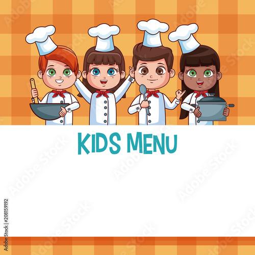 Kids menu template with cartoons vector illustration graphic design