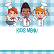 Kids menu template with cartoons vector illustration graphic design - 208159300