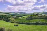 The green fields as seen from the countryside R585 road of Cousane Gap in County Cork, Ireland