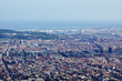 The aerial view to the Barcelona port from the panoramic mountain