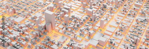 Techno mega city; urban and futuristic technology concepts, original 3d rendering - 208169970