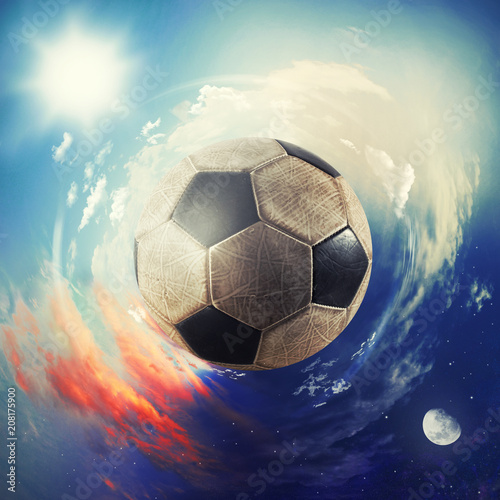 Foto Murales Global view of soccer world. football ball as a planet