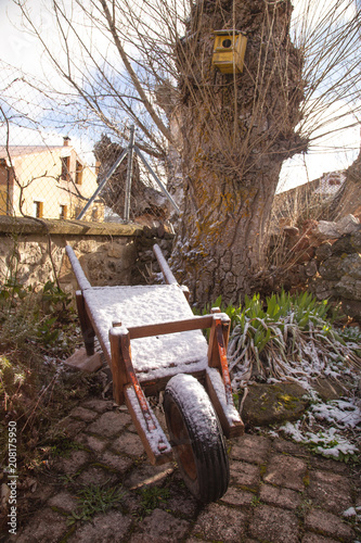 Fotobehang Cappuccino Snowy landscape in province of Soria Spain