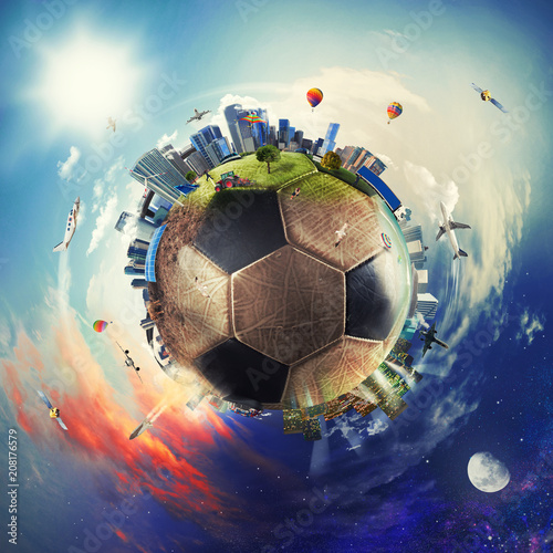 Global view of soccer world. football ball as a planet - 208176579