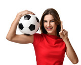 woman in red tshirt hold soccer ball celebrating point one finger up winner sign free text copy space