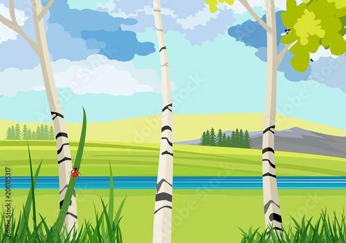 Aluminium Lichtblauw Summer Nature landscape, river, green hills, plants, insects, concept vector