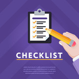 Creative vector with person noting things done in checklist on clipboard against geometric purple background - 208186954