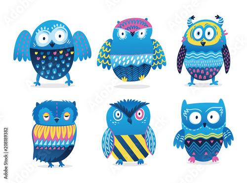 Aluminium Uilen cartoon Owls. Cute birds vector character set isolated on white