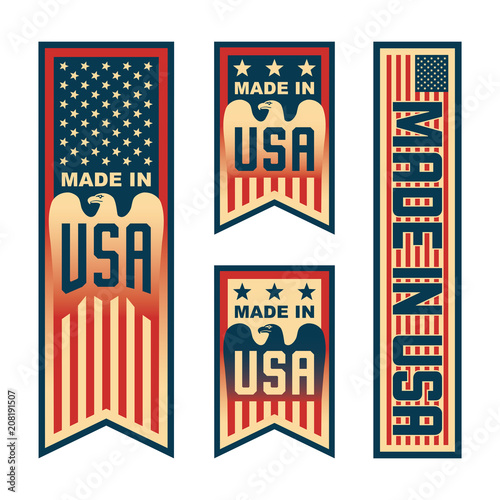 Made in USA (United States of America). Set of compositions with American flag for label, badge, banner, pin, etc.