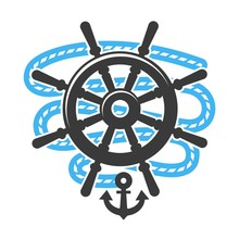 Marine Anchor Helm Wheel And Rope  Icon Sticker