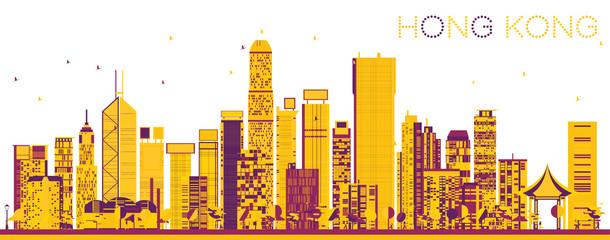 Abstract Hong Kong China Skyline with Color Buildings. © BooblGum