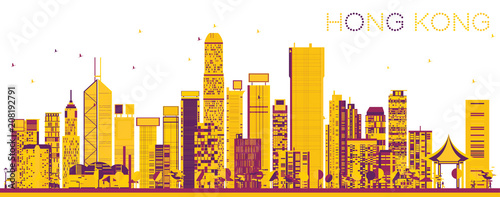 Abstract Hong Kong China Skyline with Color Buildings. - 208192791