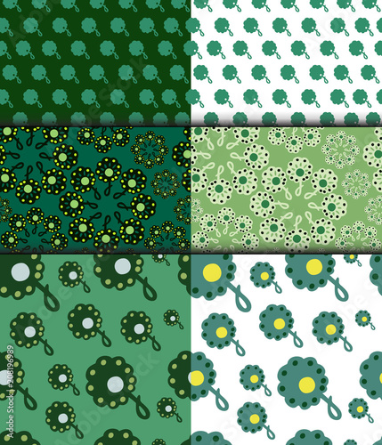 Set of floral decorative green seamless patterns - 208196989