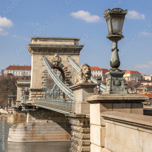 Fotobehang Boedapest Lion on Chain Bridge on the Danube River in Budapest