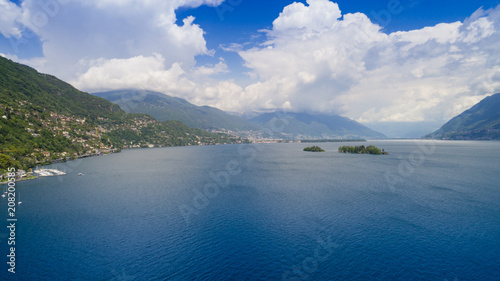 Fotobehang Nachtblauw Aerial view of Lake Maggiore and the island of Brissago