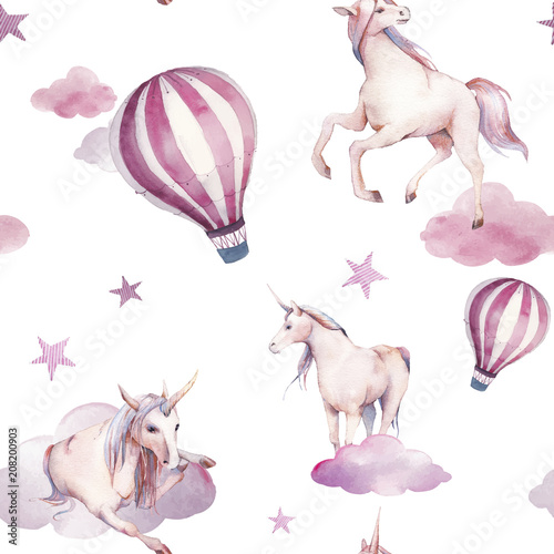 Watercolor unicorn, clouds and hot air balloon seamless pattern. Hand painted fairytale texture on white background. Cartoon baby wallpaper design - 208200903
