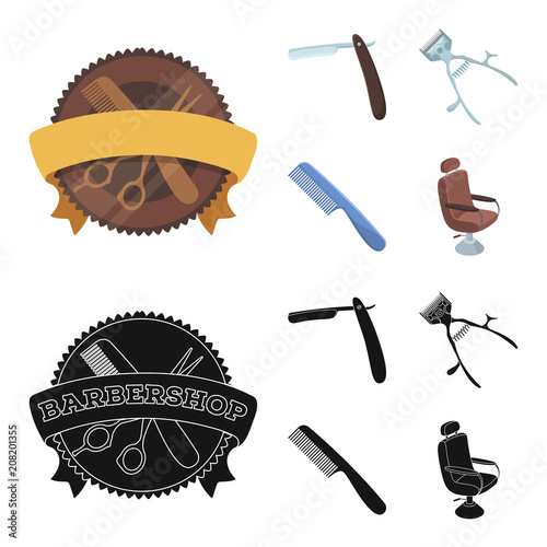 A razor, a mechanical hair clipper, an armchair and other equipment for a hairdresser.Barbershop set collection icons in cartoon,black style vector symbol stock illustration web.