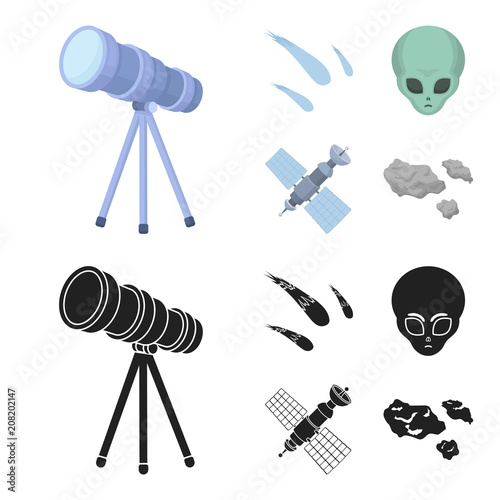 Aluminium Auto Asteroid, car, meteorite, space ship, station with solar batteries, the face of an alien. Space set collection icons in cartoon,black style vector symbol stock illustration web.