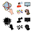 Hand, monitor, headphones, woman .Virtual reality set collection icons in cartoon,black style vector symbol stock illustration web. - 208202376