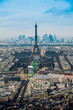 Aerial cityscape of Paris, France, with the Eiffel tower seen from the Tour Montparnasse