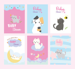 Set of baby shower invitations cards,birthday card,cats, poster, greeting, template, animals, Vector illustrations © Hanet