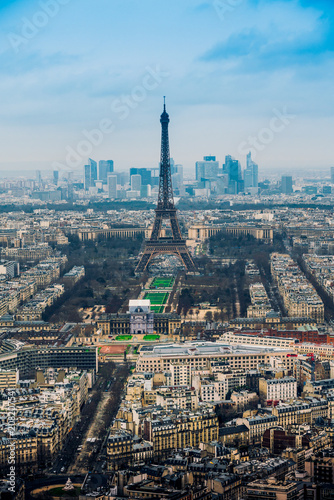 Sticker Aerial cityscape of Paris, France, with the Eiffel tower seen from the Tour Montparnasse
