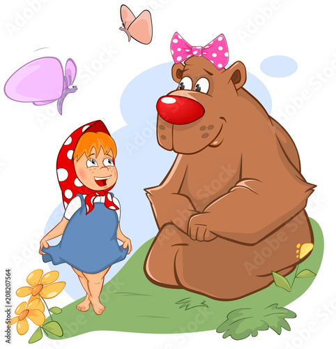 Aluminium Babykamer Illustration of the Little Girl and the Big Bear. Cartoon